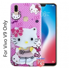 KC Mirror Kitten Girl with Butterfly Bow Diamonds Studs Back Cover for Vivo V9 - Pink